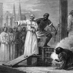 Templar grand master Jacques de Molay being led to the stake
