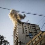 Shells Destroying Russian TV station Gaza